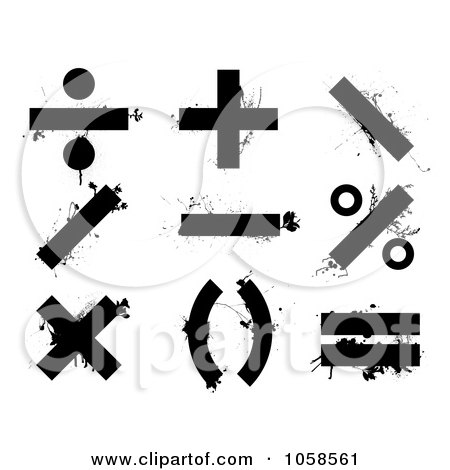 Royalty-Free Vector Clip Art Illustration of a Digital Collage Of Grungy Black Math Symbols by michaeltravers
