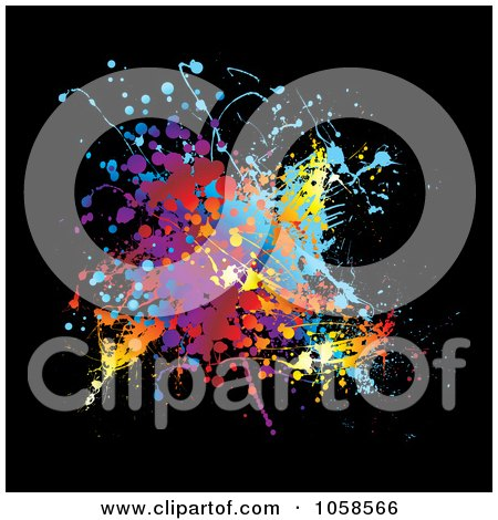 Royalty-Free Vector Clip Art Illustration of a Colorful Grunge Splat On Black by michaeltravers