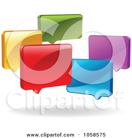 Royalty-Free Vector Clip Art Illustration of a Group Of Colorful 3d Live Chat Windows by yayayoyo