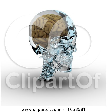 Royalty-Free CGI Clip Art Illustration of a 3d Brain In A Glass Skull - 3 by Michael Schmeling