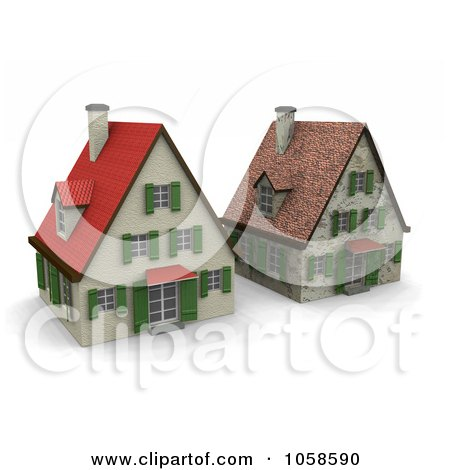 Royalty-Free CGI Clip Art Illustration of Two 3d Houses In Different States Of Renovation by Michael Schmeling