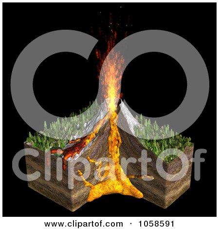 Royalty-Free CGI Clip Art Illustration of a 3d Volcano With The Cross Section Of The Earth, Magma Chambers And Fire Shooting Out Of The Top by Michael Schmeling