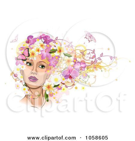 Royalty-Free Vector Clip Art Illustration of a Woman's Face With Pink Butterflies And Flowers In Her Hair by AtStockIllustration