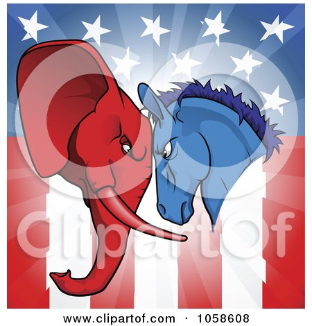 Royalty-Free Vector Clip Art Illustration of a Political Donkey And Elephant Facing Off Over An American Flag by AtStockIllustration