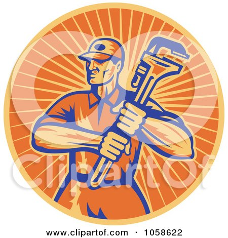 Royalty-Free Vector Clip Art Illustration of a Retro Orange Plumber And Wrench Logo by patrimonio