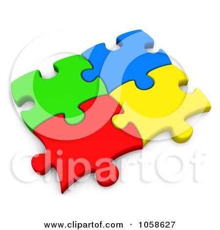 Royalty-Free CGI Clip Art Illustration of Four Colorful 3d Puzzle Pieces Connected by 3poD