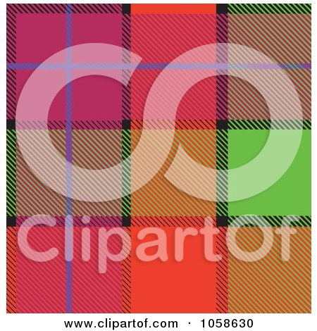 Royalty-Free Vector Clip Art Illustration of a Scottish Plaid Textile Pattern Background - 4 by Paulo Resende