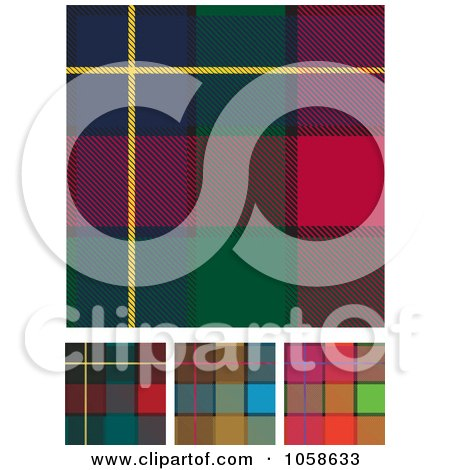 Royalty-Free Vector Clip Art Illustration of a Digital Collage Of Scottish Plaid Textile Pattern Backgrounds by Paulo Resende