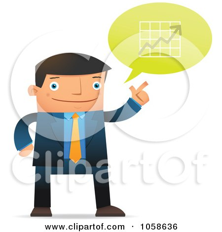Royalty-Free Vector Clip Art Illustration of a Businessman Discussing Financial Charts by Qiun