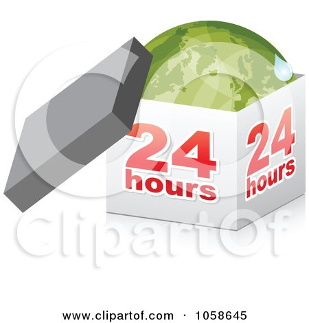 Royalty-Free Vector Clip Art Illustration of a 3d 24 Hour Box With A Green Globe by Andrei Marincas