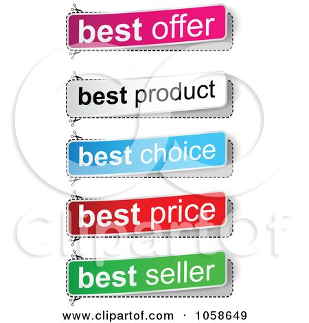 Royalty-Free Vector Clip Art Illustration of a Digital Collage Of Best Seller, Price, Choice, Product And Offer Banners by Andrei Marincas