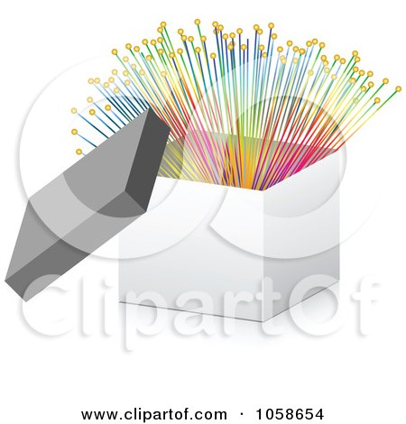 Royalty-Free Vector Clip Art Illustration of a 3d Box With Colorful Optic Fibers by Andrei Marincas