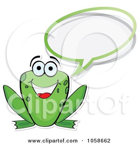 Royalty-Free Vector Clip Art Illustration of a Happy Frog Talking by Andrei Marincas