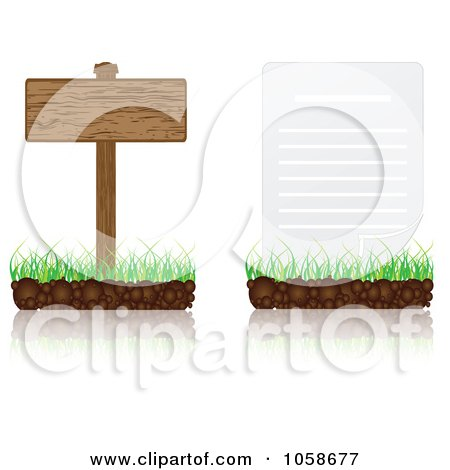 Royalty-Free Vector Clip Art Illustration of a Digital Collage Of 3d Document And Wood Signs On Grass by Andrei Marincas