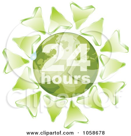 Royalty-Free Vector Clip Art Illustration of Green Arrows Around A Green 24 Hours Globe by Andrei Marincas