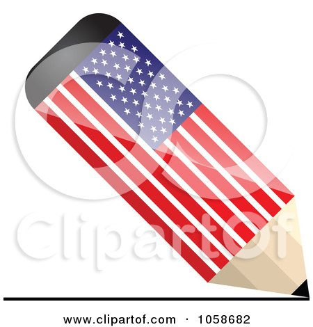 Royalty-Free Vector Clip Art Illustration of a 3d American Flag Pencil Drawing A Line by Andrei Marincas