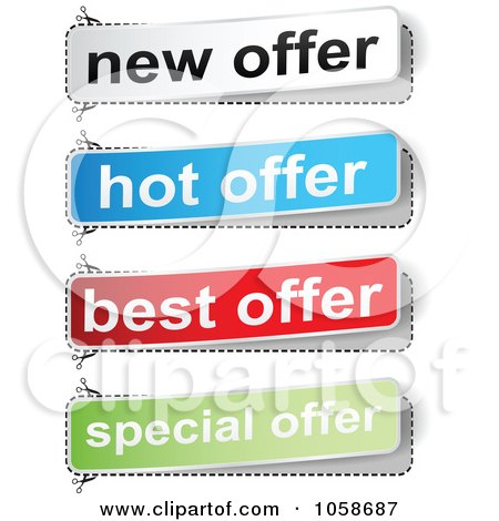 Royalty-Free Vector Clip Art Illustration of a Digital Collage Of Best Offer Banners by Andrei Marincas
