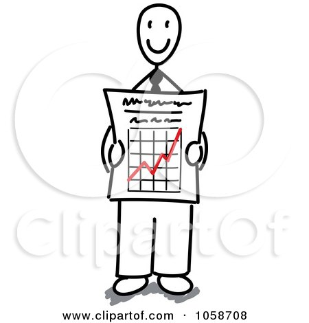 Royalty-Free Vector Clip Art Illustration of a Stick Businessman Holding A Growth Graph by Frog974