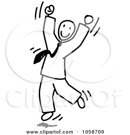 Royalty-Free Vector Clip Art Illustration of a Stick Businessman Jumping by Frog974