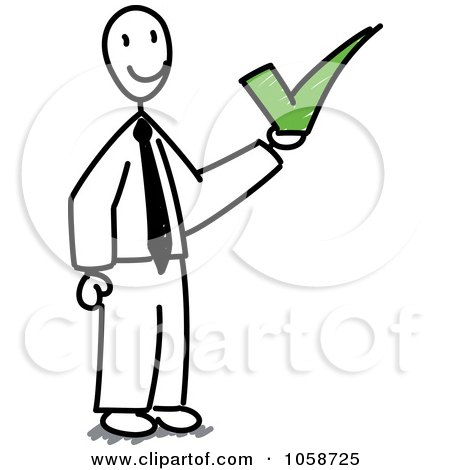 Royalty-Free Vector Clip Art Illustration of a Stick Businessman Holding A Check Mark by Frog974