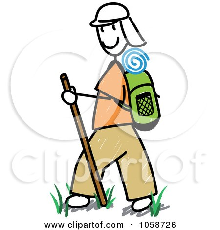 Royalty-Free Vector Clip Art Illustration of a Stick Man Hiking by Frog974