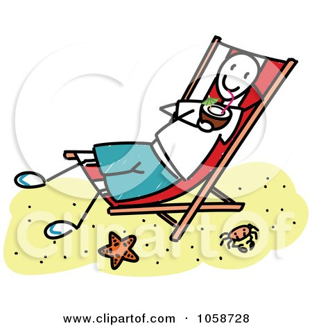 Royalty Free Vector Clip Art Illustration Of A Stick Boy Drinking Coconut Milk On Beach By Frog974