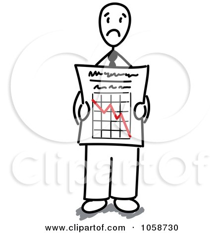 Royalty-Free Vector Clip Art Illustration of a Stick Businessman Holding A Decline Graph by Frog974