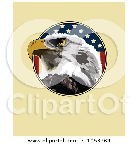 Royalty-Free Vector Clip Art Illustration of an Eagle Face And Flag Over Tan by Pushkin