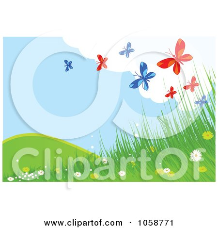 Royalty-Free Vector Clip Art Illustration of a Spring Time Background Of Blue And Red Butterflies Over Grass And Flowers by Pushkin