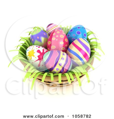 easter eggs in a basket pictures. 3d Easter Eggs In A Basket