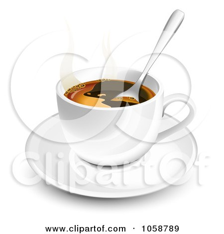 Royalty-Free Vector Clip Art Illustration of a 3d Spoon In A Coffee Cup On A Saucer by Oligo