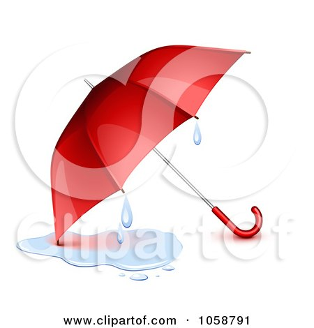 Royalty-Free Vector Clip Art Illustration of a 3d Red Umbrella With A Puddle And Droplets by Oligo