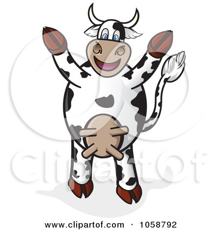 Royalty-Free Vector Clip Art Illustration of a Cheering Cow Holding Its Hooves Up by Paulo Resende