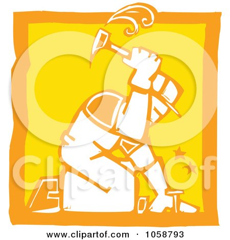 Royalty-Free Vector Clip Art Illustration of an Orange And Yellow Woodcut Styled Roofer by xunantunich