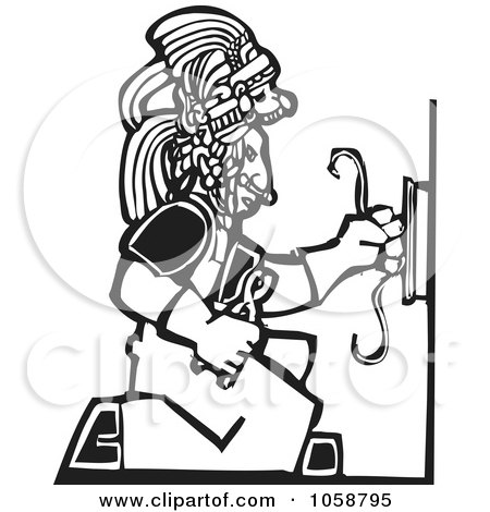 Royalty-Free Vector Clip Art Illustration of a Black And White Woodcut Styled Mayan Electrician by xunantunich
