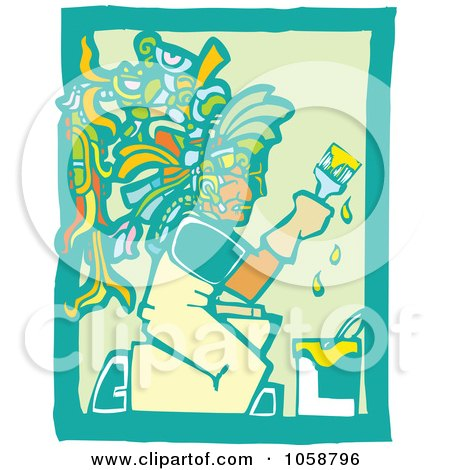 Royalty-Free Vector Clip Art Illustration of a Woodcut Styled Mayan Painter by xunantunich