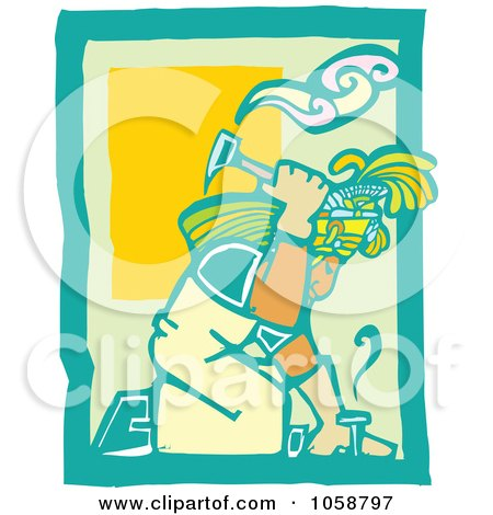 Royalty-Free Vector Clip Art Illustration of a Woodcut Styled Mayan Roofer by xunantunich