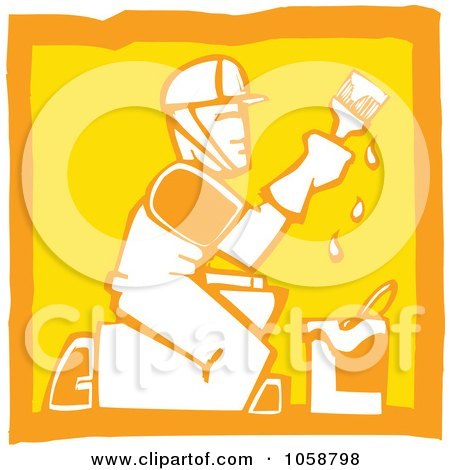Royalty-Free Vector Clip Art Illustration of an Orange And Yellow Woodcut Styled Painter by xunantunich