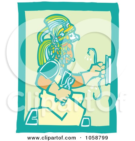 Royalty-Free Vector Clip Art Illustration of a Woodcut Styled Mayan Electrician by xunantunich