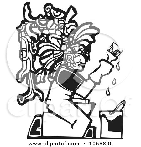 Royalty-Free Vector Clip Art Illustration of a Black And White Woodcut Styled Mayan Painter by xunantunich