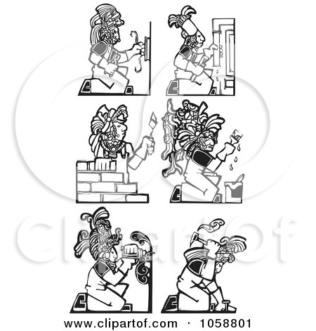 Royalty-Free Vector Clip Art Illustration of a Digital Collage Of Black And White Woodcut Styled Mayan Workers by xunantunich