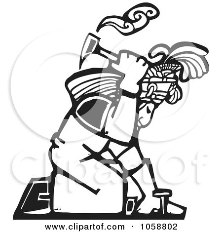 Royalty-Free Vector Clip Art Illustration of a Black And White Woodcut Styled Mayan Roofer by xunantunich