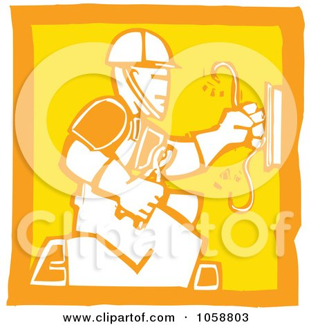 Royalty-Free Vector Clip Art Illustration of an Orange And Yellow Woodcut Styled Electrician by xunantunich