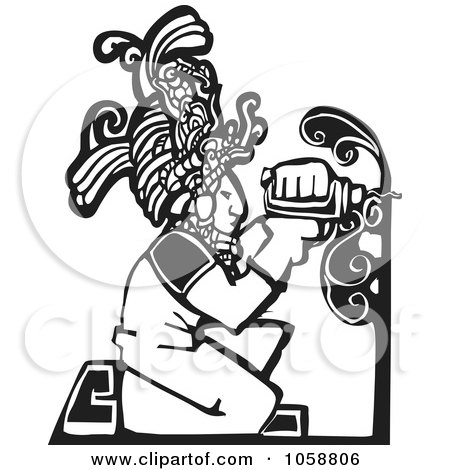Royalty-Free Vector Clip Art Illustration of a Black And White Woodcut Styled Mayan Carpenter by xunantunich