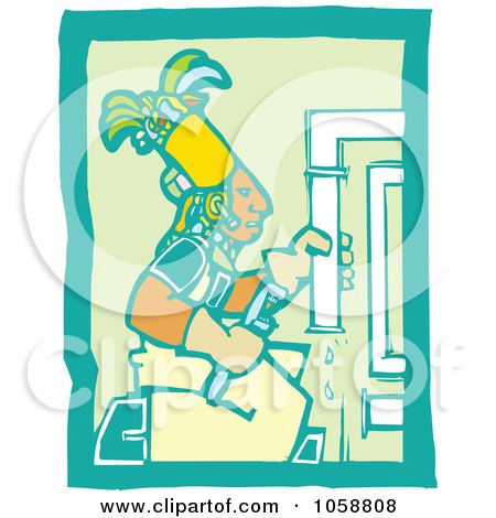 Royalty-Free Vector Clip Art Illustration of a Woodcut Styled Mayan Plumber by xunantunich