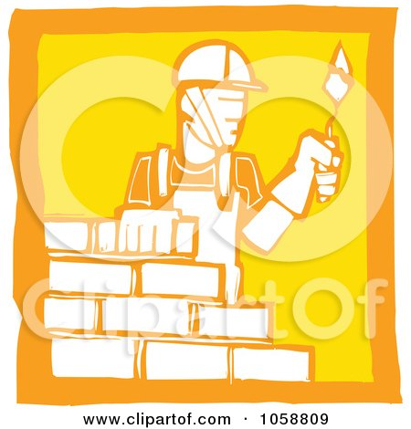 Royalty-Free Vector Clip Art Illustration of an Orange And Yellow Woodcut Styled Mason by xunantunich