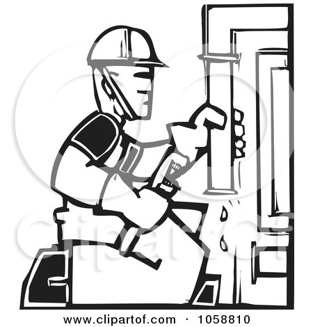 Royalty-Free Vector Clip Art Illustration of a Black And White Woodcut Styled Plumber by xunantunich
