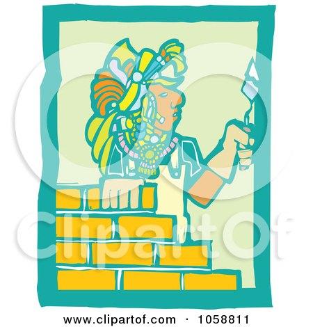 Royalty-Free Vector Clip Art Illustration of a Woodcut Styled Mayan Mason by xunantunich