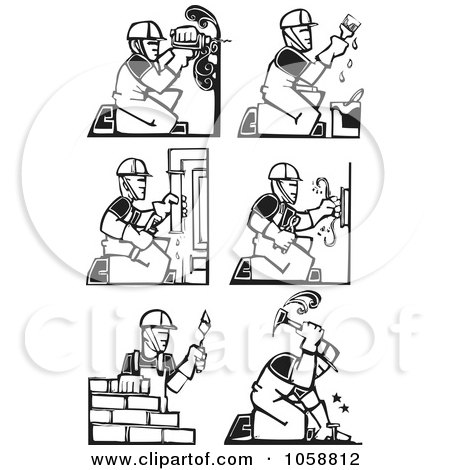Royalty-Free Vector Clip Art Illustration of a Digital Collage Of Black And White Woodcut Styled Workers by xunantunich