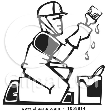Royalty-Free Vector Clip Art Illustration of a Black And White Woodcut Styled Painter by xunantunich
